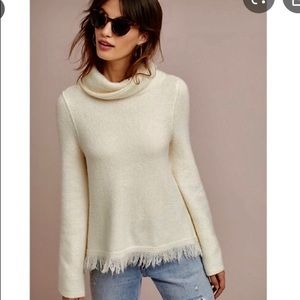 Anthropologie Ivory Fringed Cowl Neck Sweater. NWT